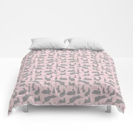 Rabbit Pattern | Rabbit Silhouettes | Bunny Rabbits | Bunnies | Hares | Pink and Grey | Comforters