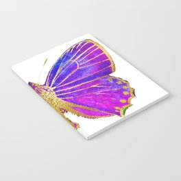 Elegant Gold-Glitter Butterfly in Blue and Purple Notebook