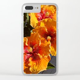 Oh my! A hibiscus menage a trois! Clear iPhone Case