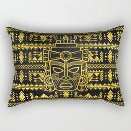 Gold  Aztec Inca Mayan Mask Rectangular Pillow