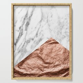 Marble & rose gold foil geometric design Serving Tray