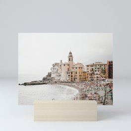 Italian Riviera, Camogli by the sea | seaside village, pastel buildings and summer beach | fine art travel prints  Mini Art Print