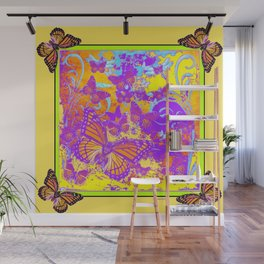 Purple Monarch  Butterflies  Surrealism Yellow Art Wall Mural