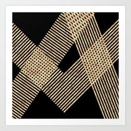 Modern black gold geometrical lines Art Print