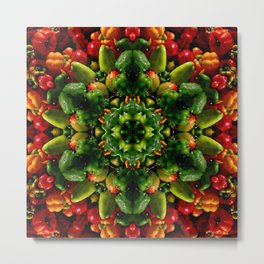 Peppy pepper mandala - green center Metal Print