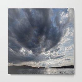 Dark Clouds Coming Over Lake In Scandinavia Metal Print
