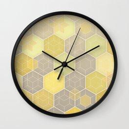 Lemon & Grey Honeycomb Wall Clock