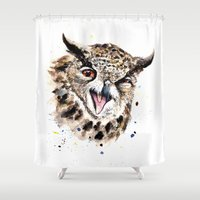 owl Shower Curtains featuring Owl by Anna Shell