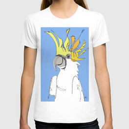 Yellow Crested Cockatoo in blue T-shirt