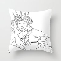 mucha Throw Pillows featuring Mucha Style by Crousticro