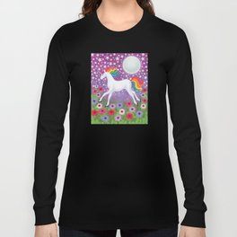 wanderlust (rainbow unicorn), moon and stars, anemone Long Sleeve T-shirt