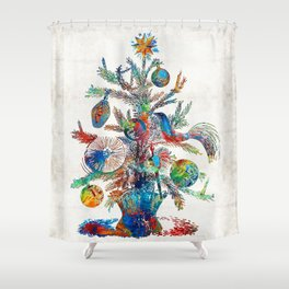 Colorful Christmas Tree Art by Sharon Cummings Shower Curtain
