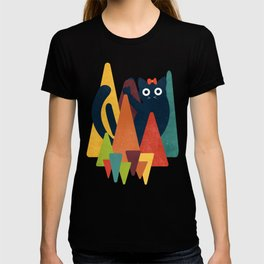 Cute Cat on Colorful Triangle T-shirt