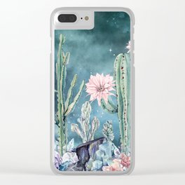 Desert Cactus Succulents + Gemstones on Teal Night Sky Clear iPhone Case