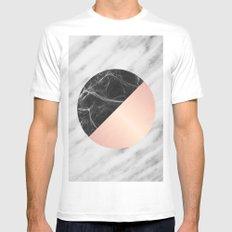 Carrara Italian Marble Black and Pink White Mens Fitted Tee MEDIUM