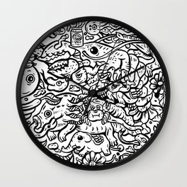 Somewhere Together black and white Wall Clock