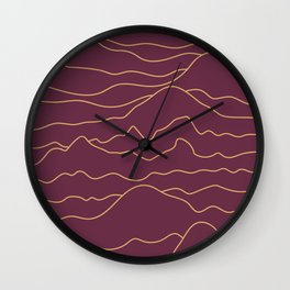 Mountains Lines Plum Wall Clock