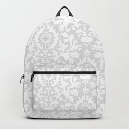 Vintage chic gray white abstract floral damask pattern Backpack