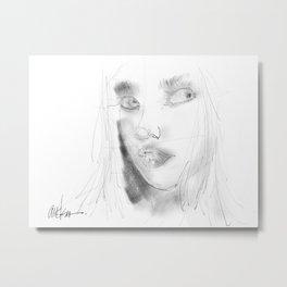 Girl in Pencil Metal Print