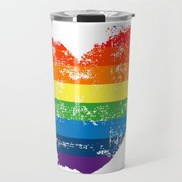 LGBT Pride Love Heart Rainbow Flag Vintage Travel Mug