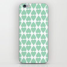 Diamond Hearts Repeat Mint iPhone & iPod Skin