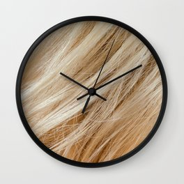Wavy blonde woman hair background and texture Wall Clock