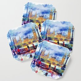 London Rain watercolor Coaster