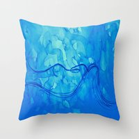 aquarius Throw Pillows featuring Aquarius  by HollyJonesEcu