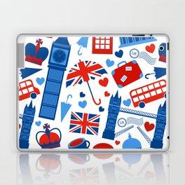 Fondo de patrón sin fisuras con hitos de Londres y símbolos de Gran Bretaña ilustración vectoria Laptop & iPad Skin
