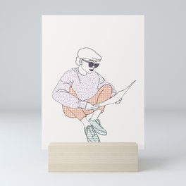 Fashion illustration line drawing - Agnes Mini Art Print