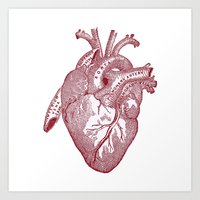 anatomical heart Art Prints featuring anatomical heart by Kristian