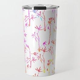 Trendy pink teal watercolor modern bamboo trees floral Travel Mug