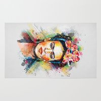 christmas Area & Throw Rugs featuring Frida Kahlo by Tracie Andrews