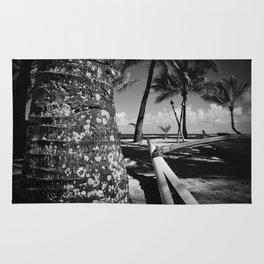 Kuau Beach Palm Trees and Hawaiian Outrigger Canoe Paia Maui Hawaii Rug