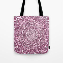 Wine Maroon Ethnic Detailed Textured Mandala Tote Bag