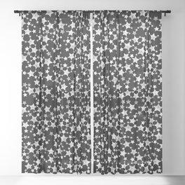 Hand Printed Black and White Stars Sheer Curtain