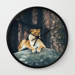 Lion on the rock Wall Clock