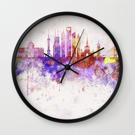 Shanghai V2 skyline in watercolor background Wall Clock