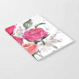 Abstract Watercolor Red Roses Notebook