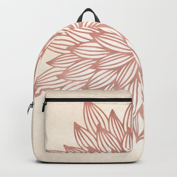 Mandala Flowery Rose Gold on Cream Backpack