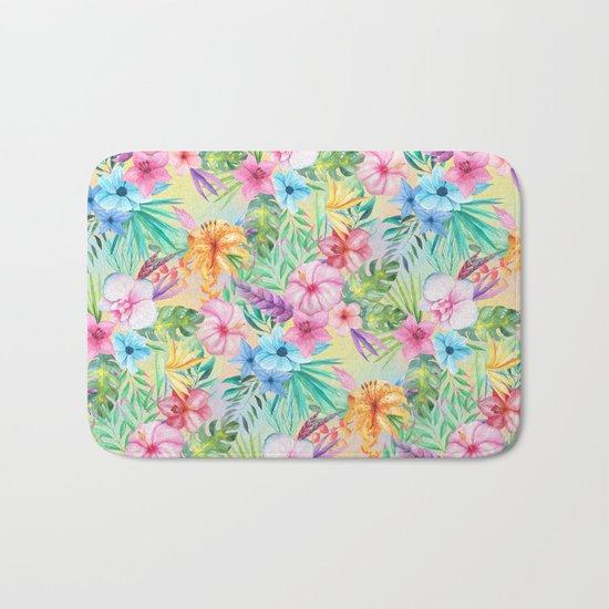 Wispy Summer Floral Bath Mat