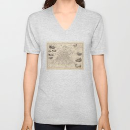 Vintage Map of York England (1851) Unisex V-Neck