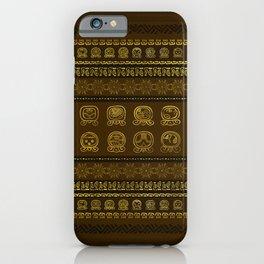 Maya Calendar Glyphs pattern Gold on Brown iPhone Case