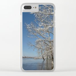 river water trees snow Clear iPhone Case
