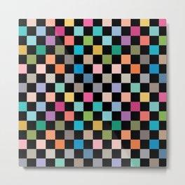 Multicolour Squares Checkerboard Metal Print