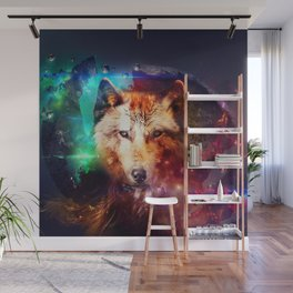 Colorfulface wolf  Wall Mural