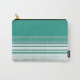Teal Poka Dot Multi Pattern Design Carry-All Pouch
