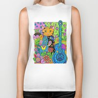 hippy Biker Tanks featuring Hippy Puss by SwanniePhotoArt