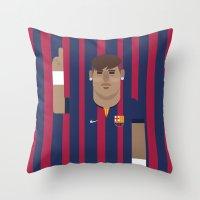 neymar Throw Pillows featuring Neymar Barcelona Illustration Print by Gary  Ralphs Illustrations