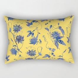 Elegant Blue Passion Flower on Mustard Yellow Rectangular Pillow
